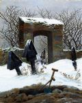 caspar david friedrich acrylic paintings - eyard under snow by caspar david friedrich
