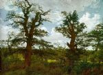 caspar david friedrich acrylic paintings - landscape with oak trees and a hunter by caspar david friedrich
