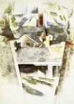 sailboats and roofs by charles demuth painting