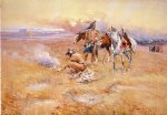 blackfeet burning crow buffalo range by charles marion russell painting