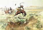 bronco busting by charles marion russell painting