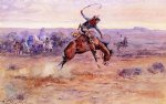 bucking bronco by charles marion russell painting
