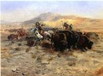 charles marion russell famous paintings - buffalo hunt by charles marion russell