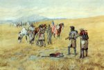charles marion russell famous paintings - captain lewis meeting the shoshones by charles marion russell