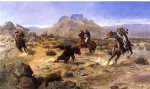 charles marion russell famous paintings - capturing the grizzly by charles marion russell