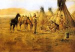 cowboy watercolor paintings - cowboy bargaining for an indian girl by charles marion russell