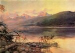 deer acrylic paintings - deer at lake mcdonald by charles marion russell