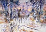 deer acrylic paintings - deer in a snowy forest by charles marion russell