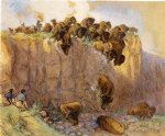 charles marion russell famous paintings - driving buffalo over the cliff by charles marion russell