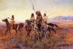 indian watercolor paintings - four mounted indians by charles marion russell