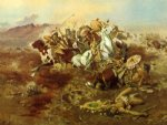 charles marion russell famous paintings - indian fight 1 by charles marion russell