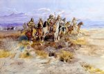 indian watercolor paintings - indian scouting party by charles marion russell