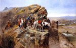 charles marion russell indians on a bluff surveying general miles troops painting