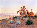 mexican watercolor paintings - mexican buffalo hunters by charles marion russell