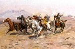 canvas oil paintings - outnumbered by charles marion russell