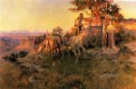 charles marion russell famous paintings - watching for wagons by charles marion russell