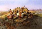charles marion russell famous paintings - watching the settlers by charles marion russell