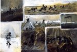 western watercolor paintings - western montage by charles marion russell