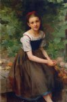 charles victor thirion acrylic paintings - young girl with flowers by charles victor thirion