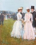 paris famous paintings - at the grand prix in paris by childe hassam