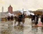 childe hassam art - clearing sunset by childe hassam