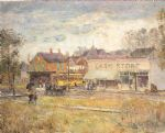 childe hassam art - end of the trolley line by childe hassam
