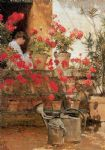 childe hassam art - geraniums by childe hassam
