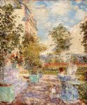 french oil paintings - in a french garden by childe hassam