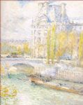 le louvre et le pont royal by childe hassam painting