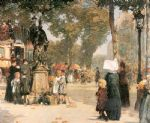 paris street scene by childe hassam painting