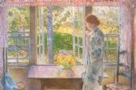the goldfish window by childe hassam painting