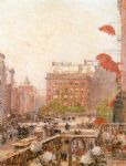 view of broadway and fifth avenue by childe hassam painting