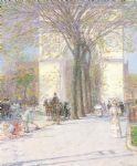 washington arch in spring by childe hassam painting