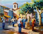 christian artwork - p茅tanque sur la place de l 茅glise by christian jeque