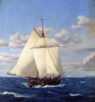 a danish yacht passing stevns by christoffer wilhelm eckersberg painting