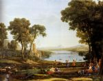 claude lorrain original paintings - landscape with the marriage of isaac and rebekah by claude lorrain