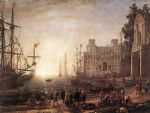 port scene with the villa medici by claude lorrain acrylic paintings