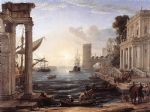 claude lorrain seaport with the embarkation of the queen of sheba painting