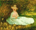 claude monet camile reading painting