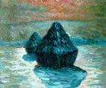 claude monet grain stack snow effect morning painting
