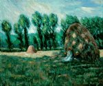 claude monet haystacks evening effect painting