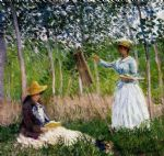 claude monet in the woods at giverny painting