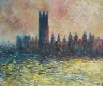 london. houses of parliament sun breaking through the fog by claude monet paintings
