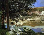 claude monet on the bank of the seine bennecourt painting