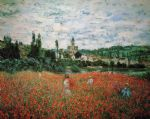 poppy field near vetheuil by claude monet paintings