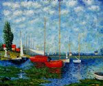 claude monet red boats at argenteuil ii painting
