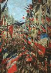 claude monet paintings - rue montargueil with flags by claude monet