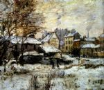 snow effect with setting sun by claude monet paintings