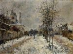 the boulevard de pontoise at argenteuil snow effect by claude monet paintings