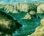 the rocks at belle by claude monet paintings